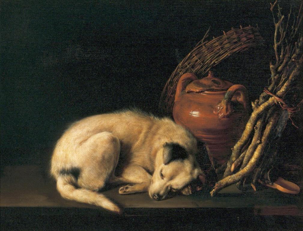 Герард Доу. Спящая собака и глиняный горшок