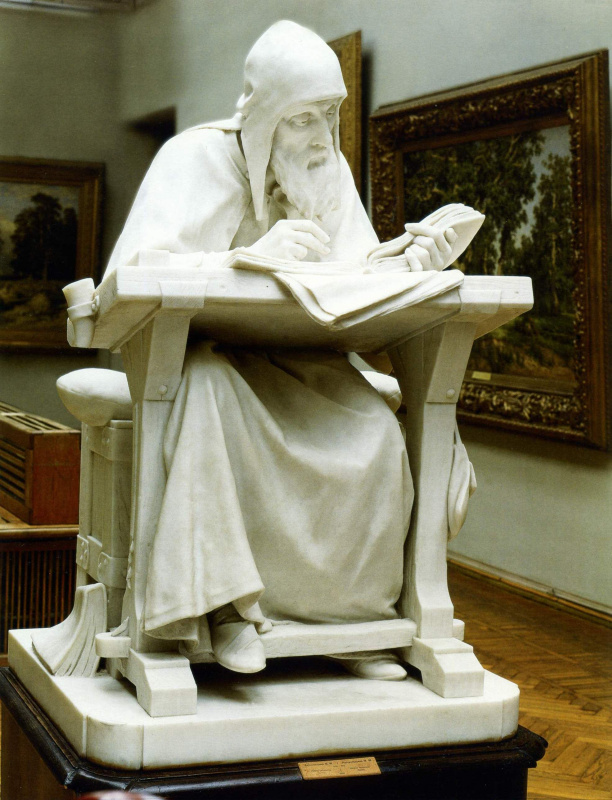 Mark Matveyevich Antokolsky. Nestor the chronicler. Reduced repetition of statues in marble (1890), located in the timing