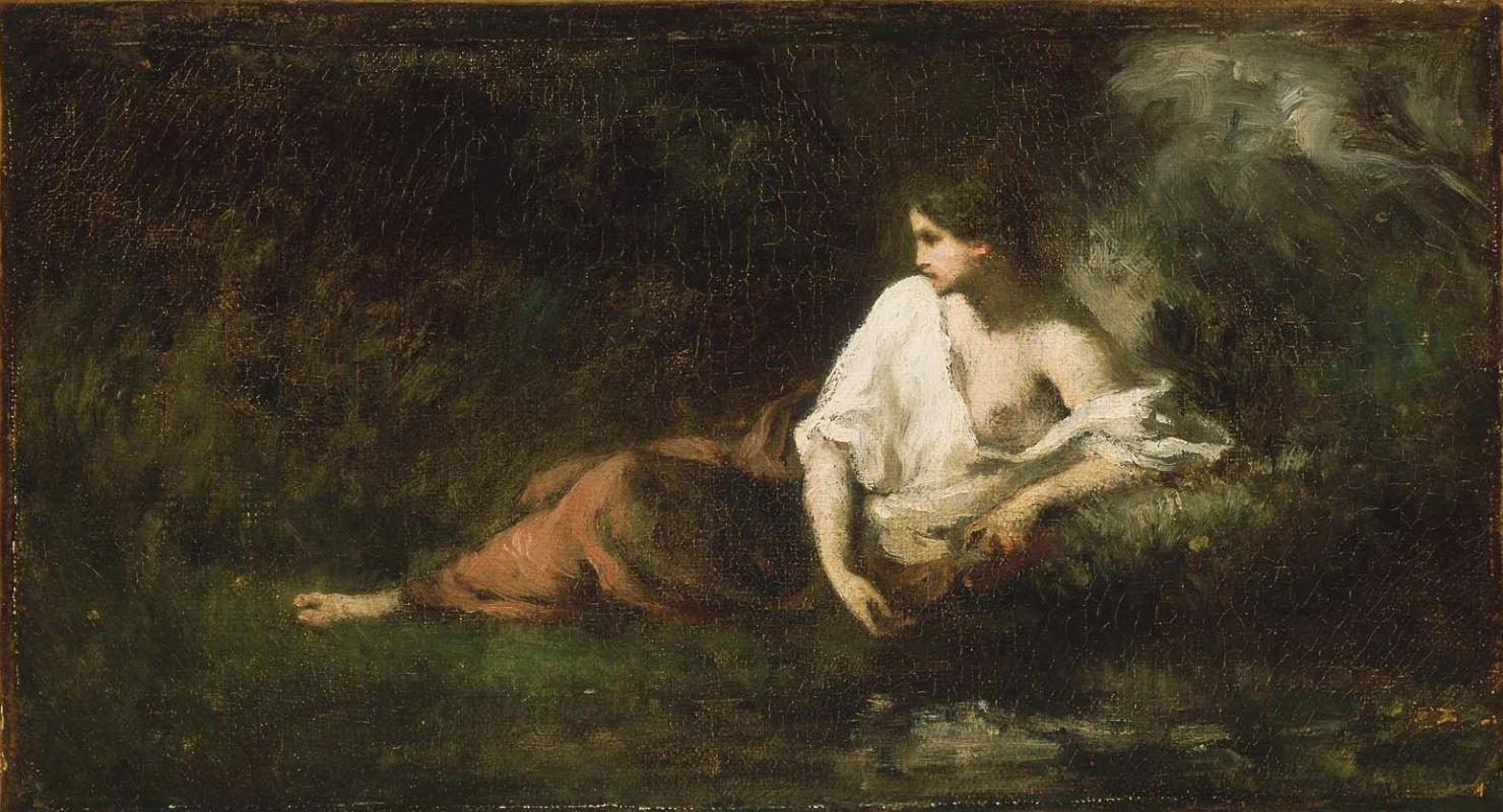 Jean-François Millet. Resting girl in the landscape