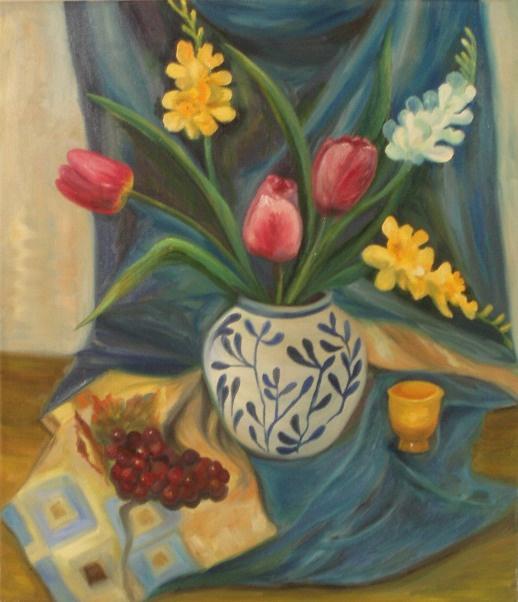 Larissa Lukaneva. Still life with grapes and tulips