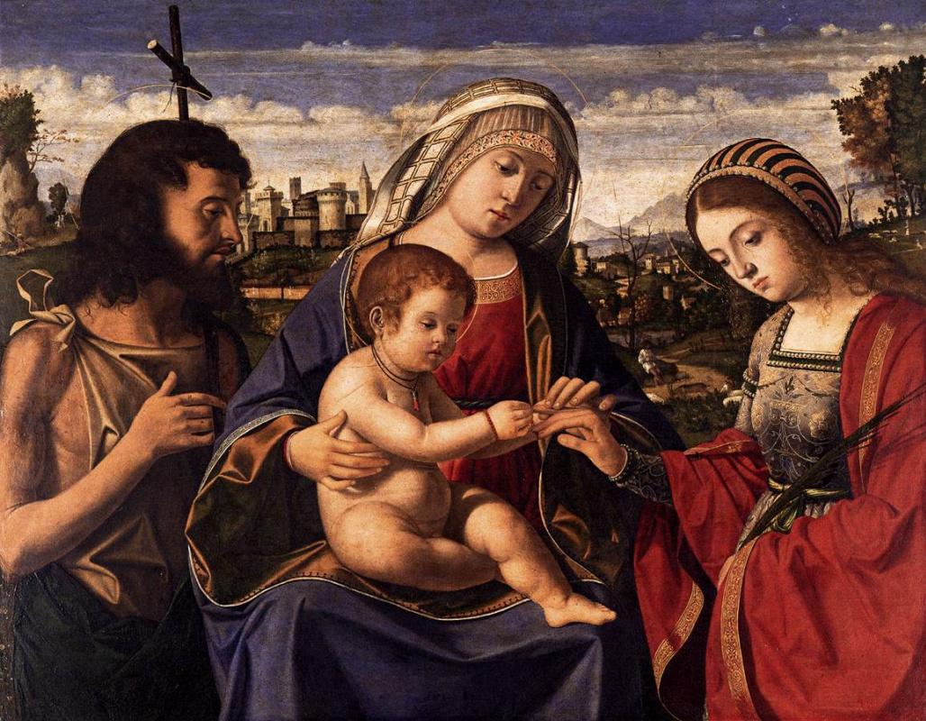 Andrea Previtali. Madonna, child and saints