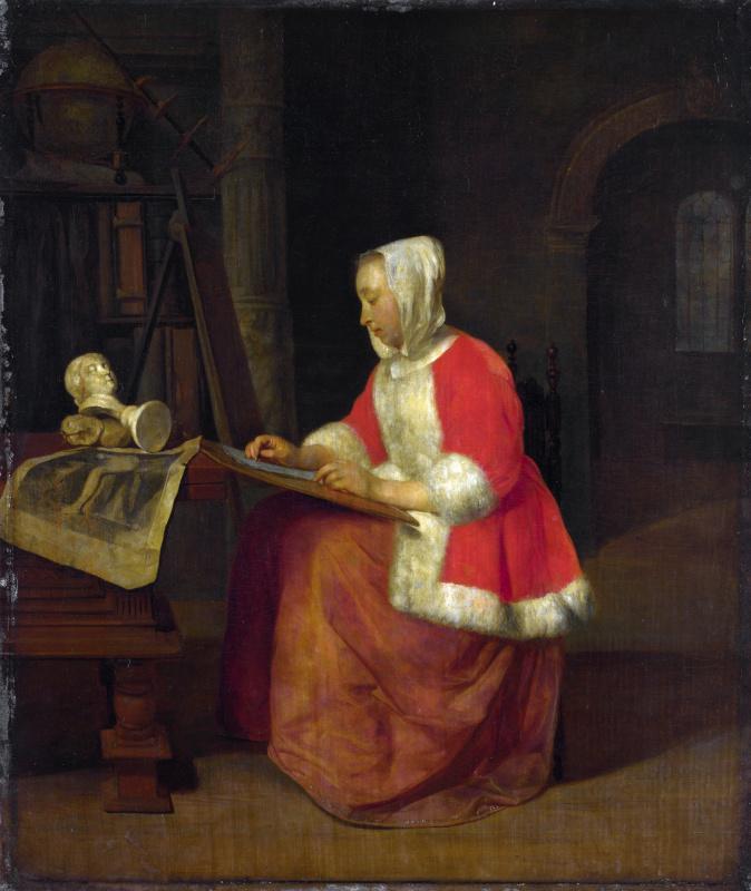 Габриель Метсю. Молодая женщина сидит рисует