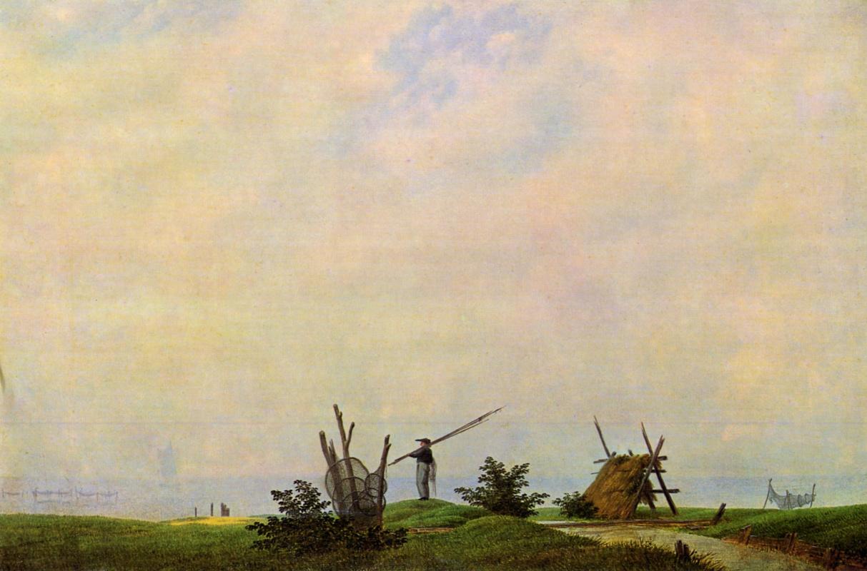Каспар Давид Фридрих. Морской пляж с рыбаком