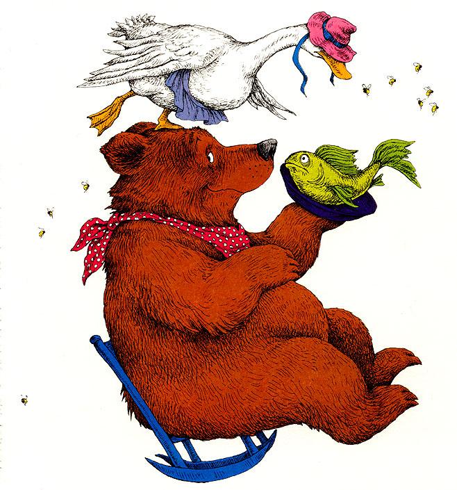 Линн Мунсингер. Медведь держит рыбу