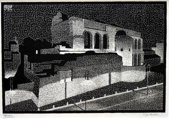 Maurits Cornelis Escher. Night Rome: Basilica of Constantine