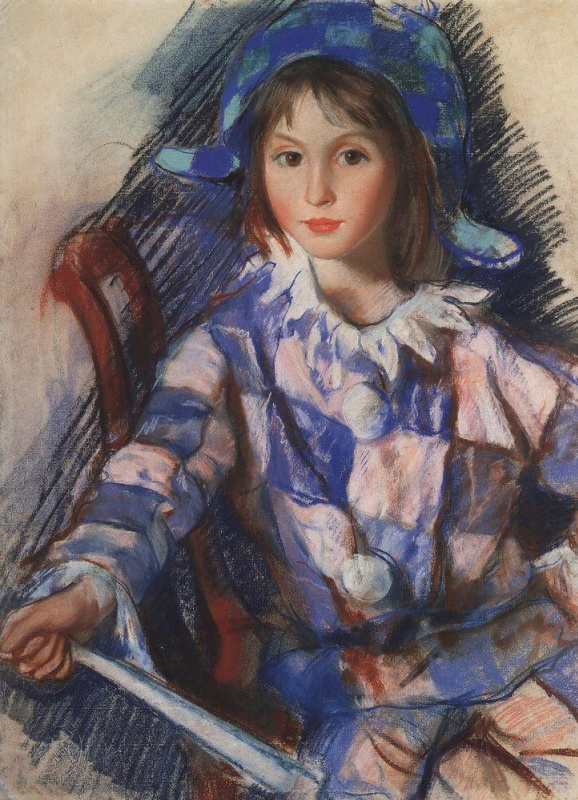 Зинаида Евгеньевна Серебрякова. Портрет Таты в костюме Арлекина