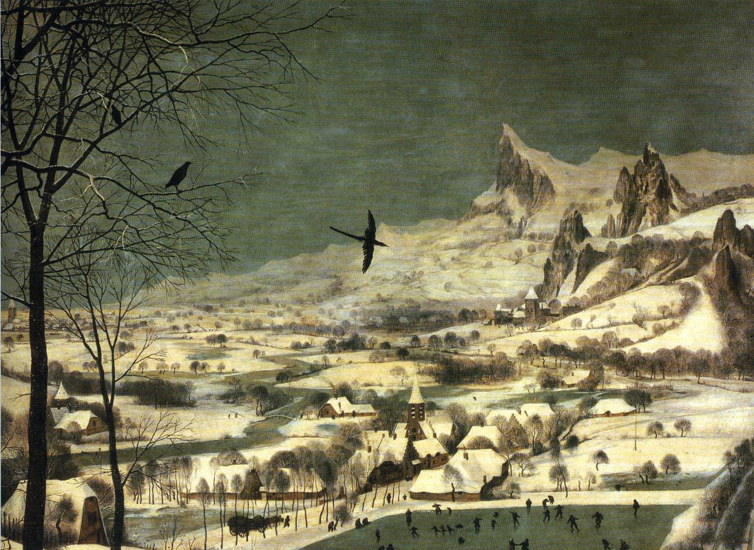 Pieter Bruegel The Elder. Hunters in the snow. Fragment 5. Black Raven