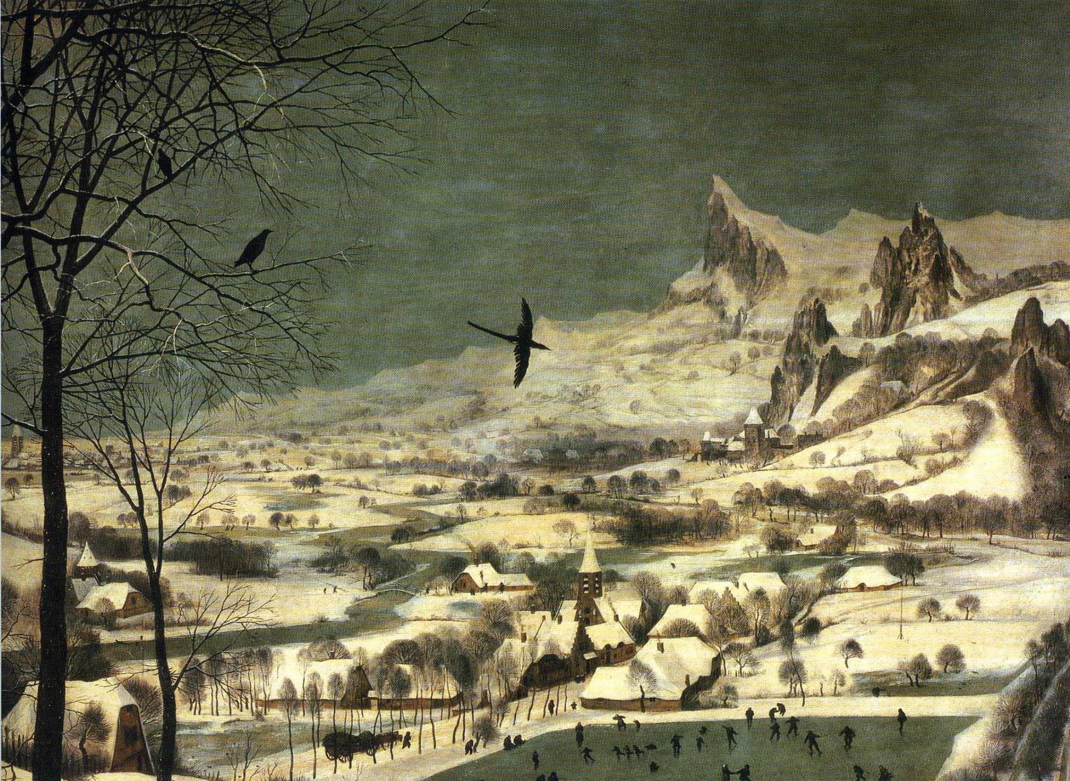 Питер Брейгель Старший. Охотники на снегу. Фрагмент 5. Черный ворон
