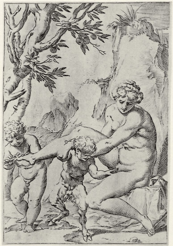 """Agostino Carracci. The series of """"Sensuality"""", a Nymph and putti is a small Satyr"""