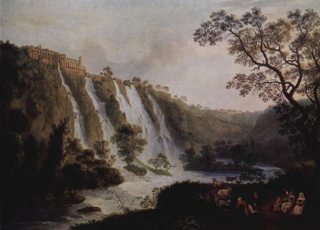 Якоб Филипп Хаккерт. Вилла Мецената в Тиволи с водопадами
