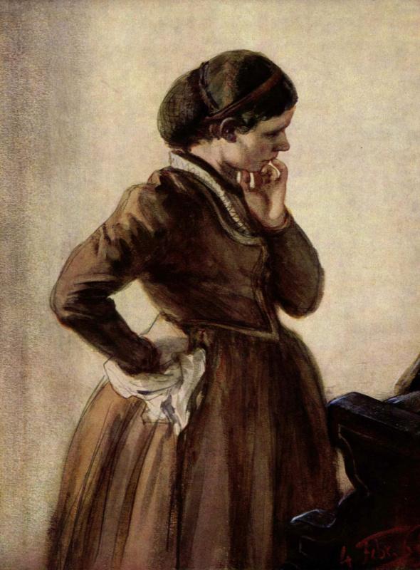 Adolf Friedrich Erdmann von Menzel. Emilia Menzel standing at the piano