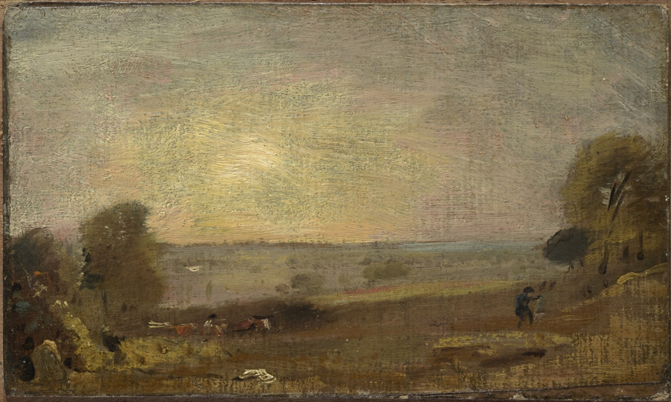 John Constable. The road on the East Bergholt at sunset
