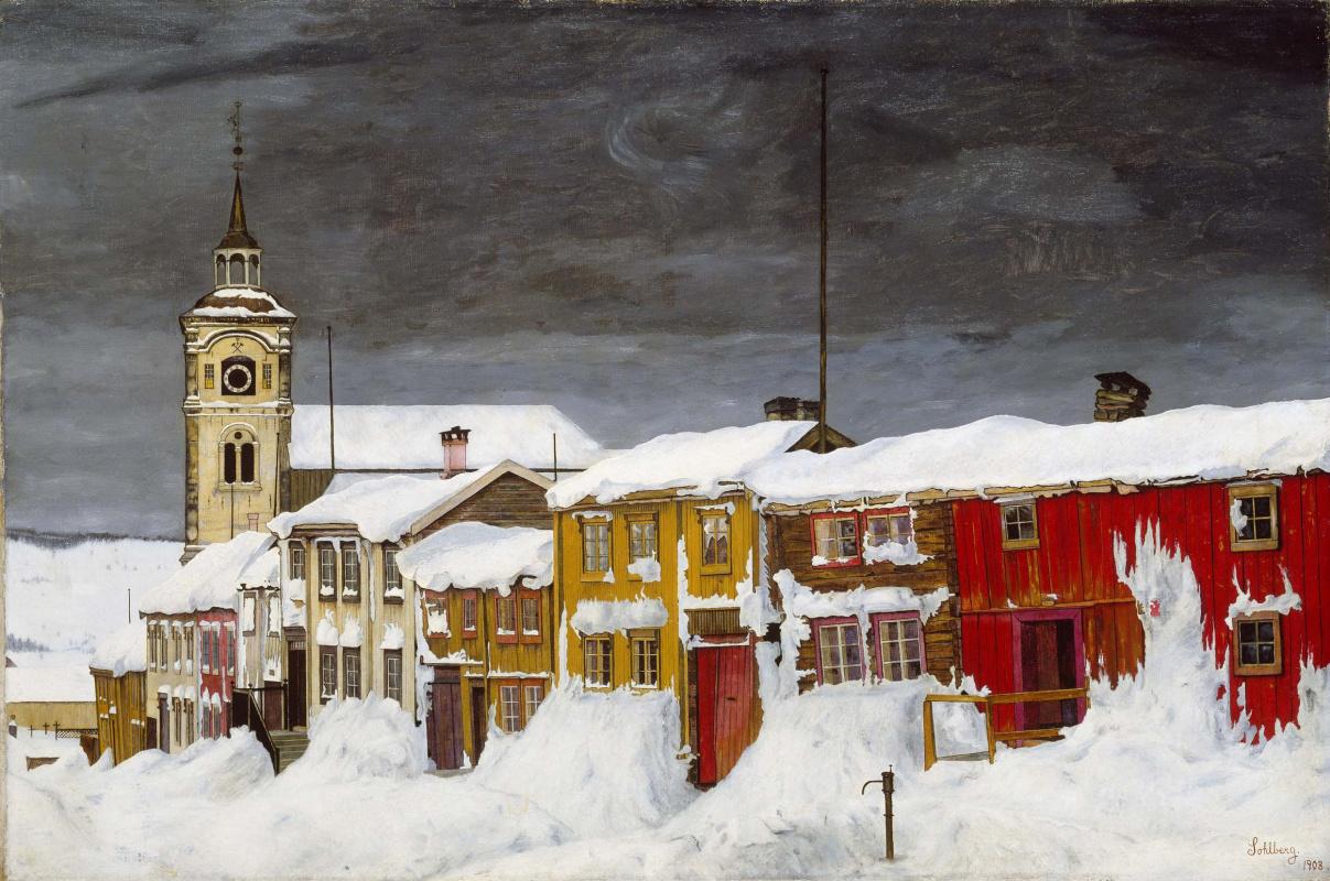 Harald Oskar Sohlberg. Street in Røros in Winter