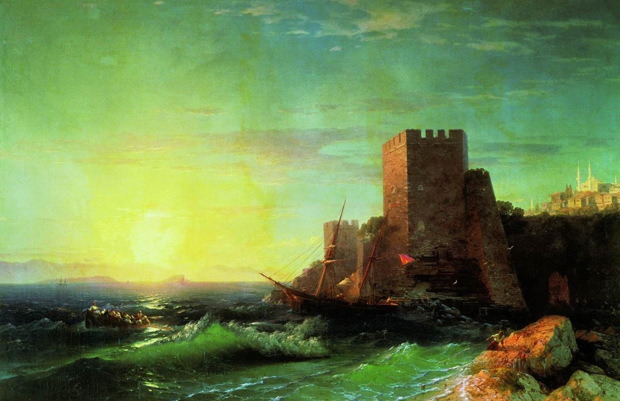 Иван Константинович Айвазовский. Башни на скале у Босфора