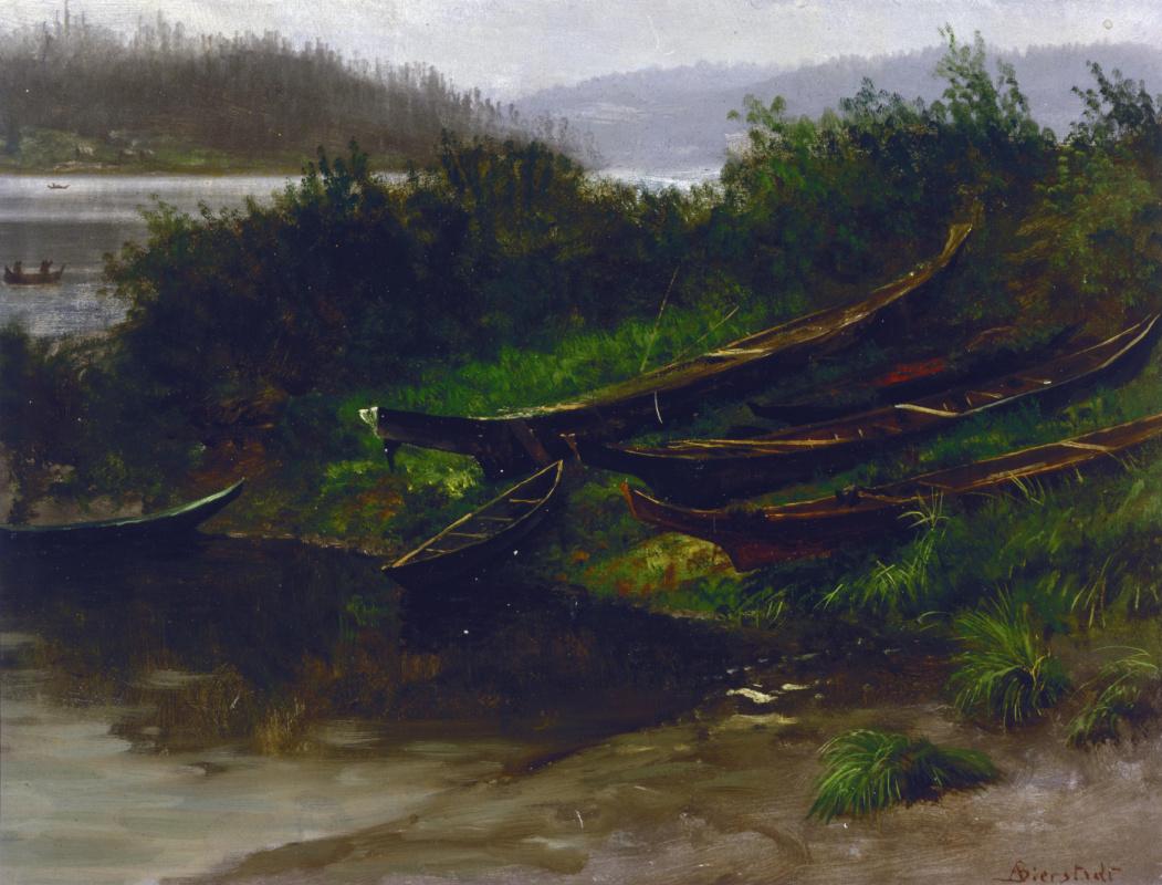 Альберт Бирштадт. Лодки на берегу, Аляска