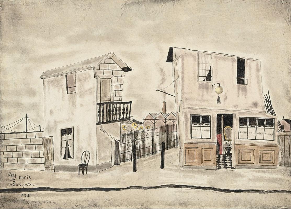 Цугухару Фудзита ( Леонар Фужита ). Уличная сцена в Париже