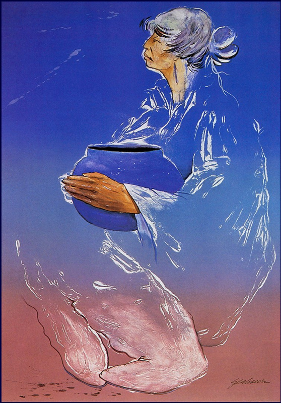 Небесно-голубой горшок