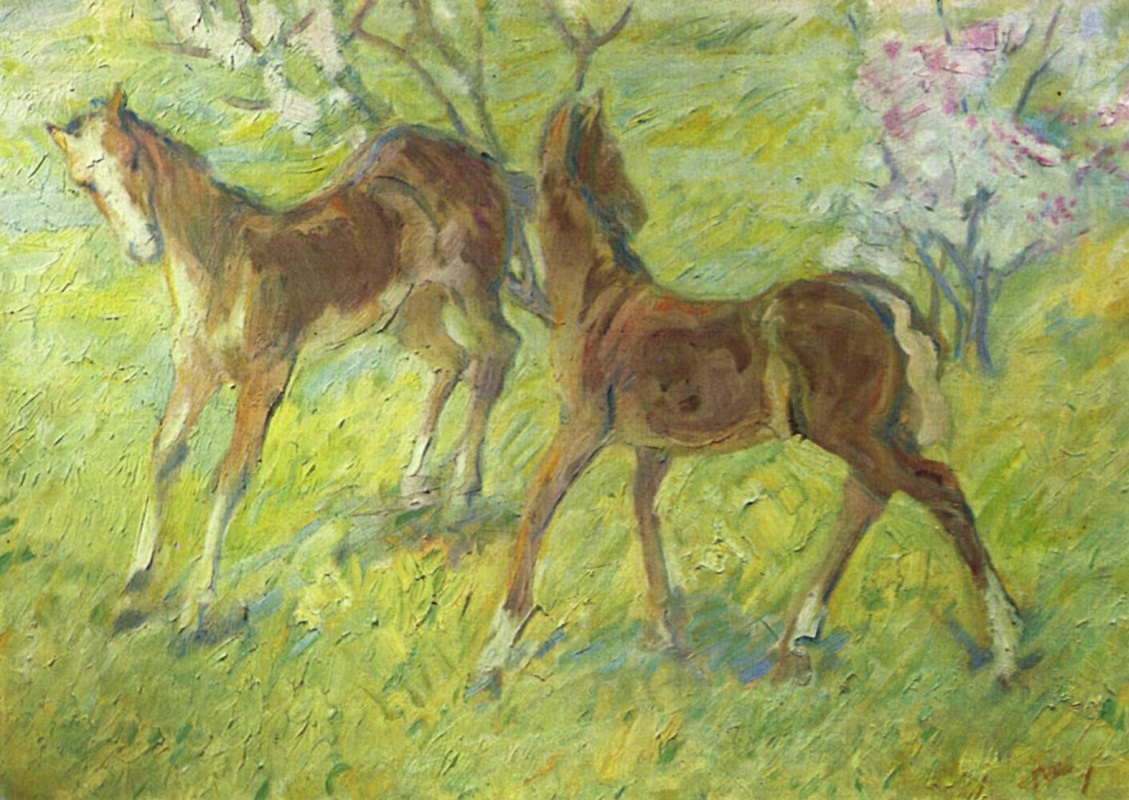 Franz Mark. Frolicking foals