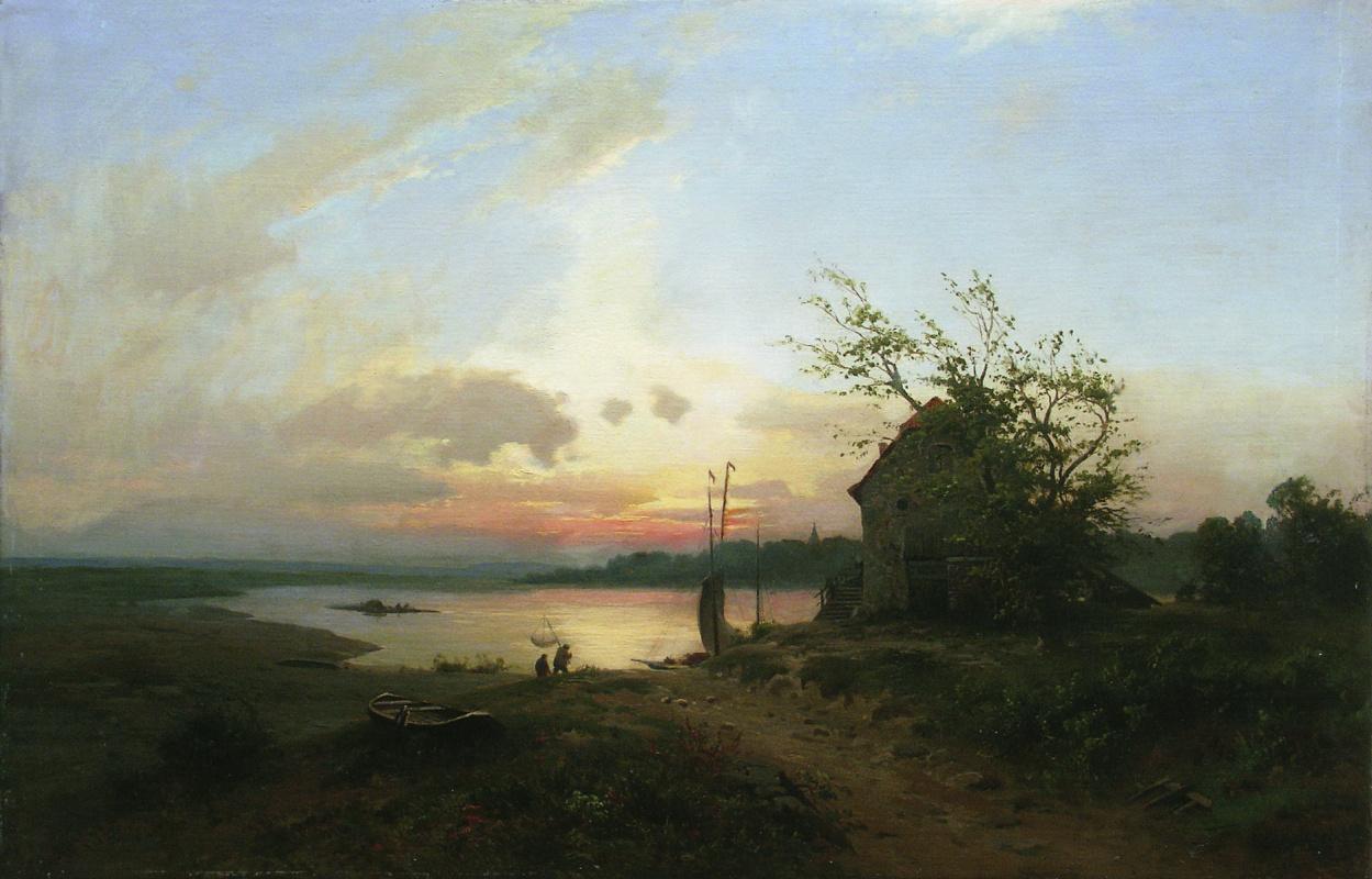 Lev Feliksovich Lagorio. Fishermen on the river. The evening sunset