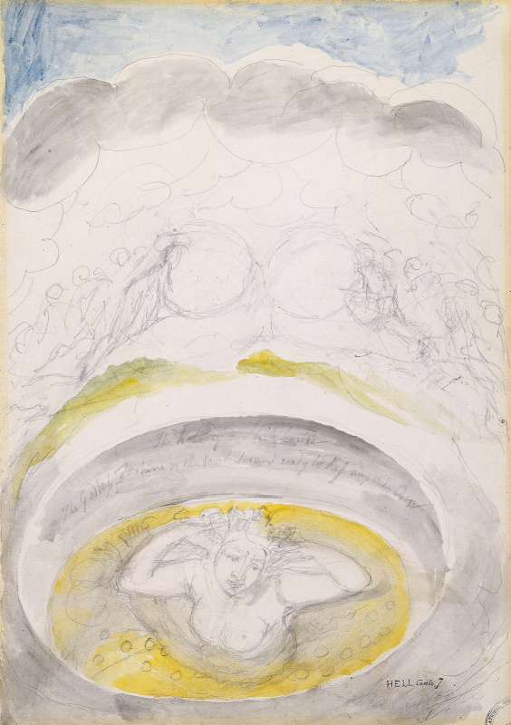 """William Blake. The goddess of fortune. Illustrations for """"the divine Comedy"""""""