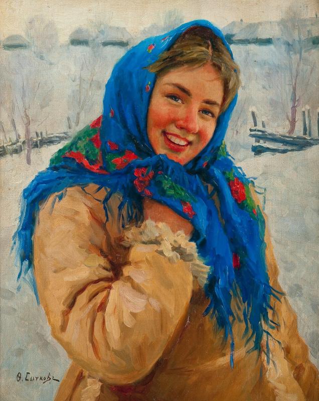 Федор Васильевич Сычков. Девушка в синем платке. 1935