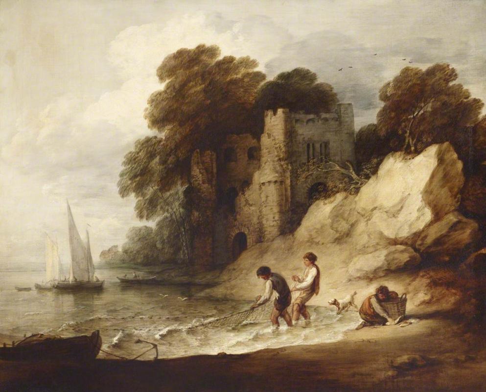Томас Гейнсборо. Скалистое побережье с разрушенным замком и рыбаками
