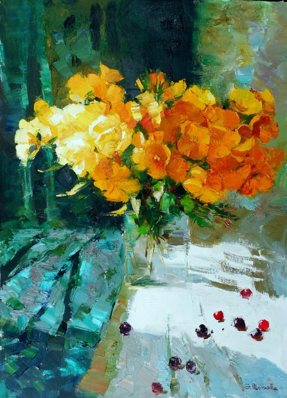 """Элла Щеглова. """"Натюрморт с желтыми цветами"""""""