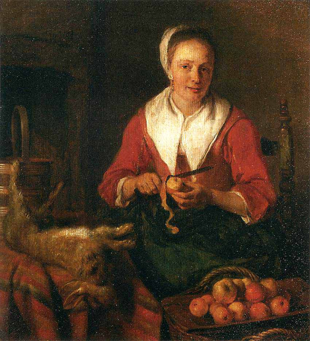 Gabrielle Metsu. The cook at work