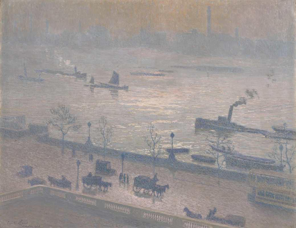 Emil Klaus. Morning reflected in the Thames, London