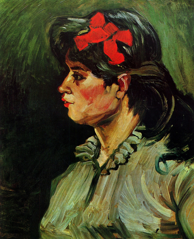 Vincent van Gogh. Portrait of woman with red ribbon