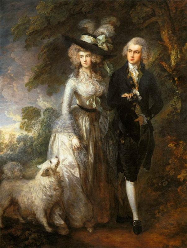Thomas Gainsborough. Morning walk. Portrait of squire William Hallet with his wife Elizabeth