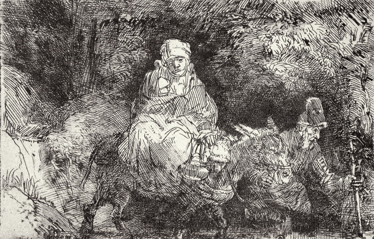 Рембрандт Харменс ван Рейн. Бегство в Египет, переход через ручей