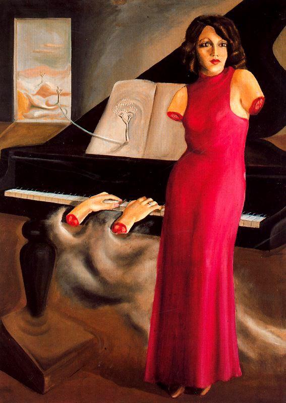 Оскар Домингес. Женщина в красном платье