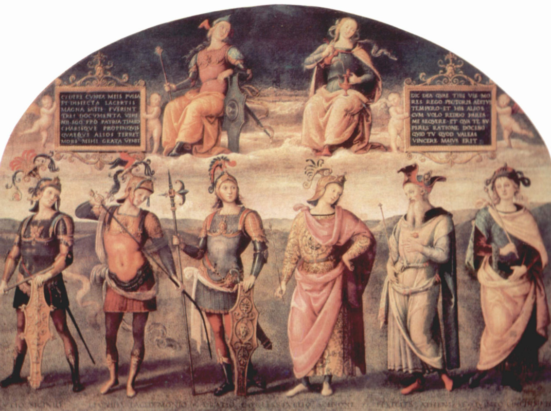 Pietro Perugino. The frescoes of the halls of the techniques of the management Board of the exchange in Perugia. Prudence and Justice from ancient sages