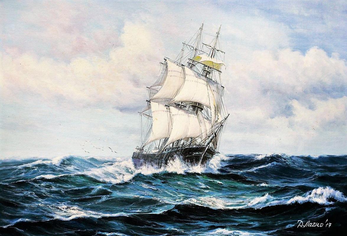 Daria Feliksovna Lagno. Sailboat. On the crest of wave N2