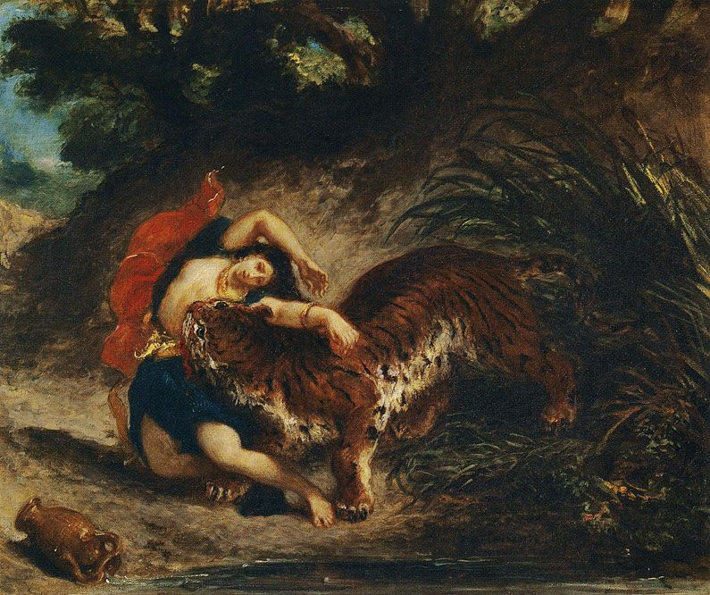 Eugene Delacroix. Tiger attacking a young woman