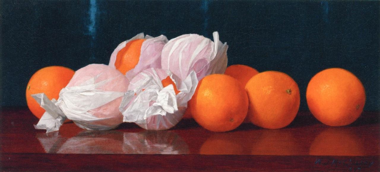 William Joseph McCloskey. Oranges in tissue paper on the table