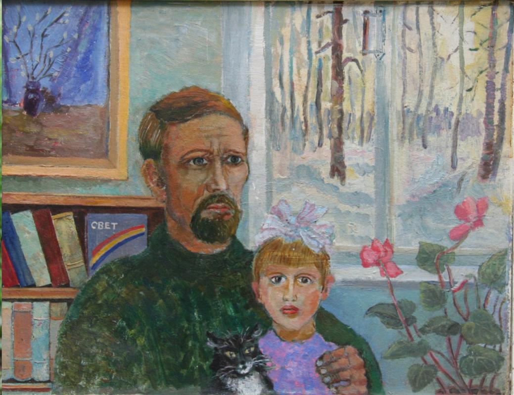 Leonid Andreyanovich Tuchkov. Self-portrait with daughter