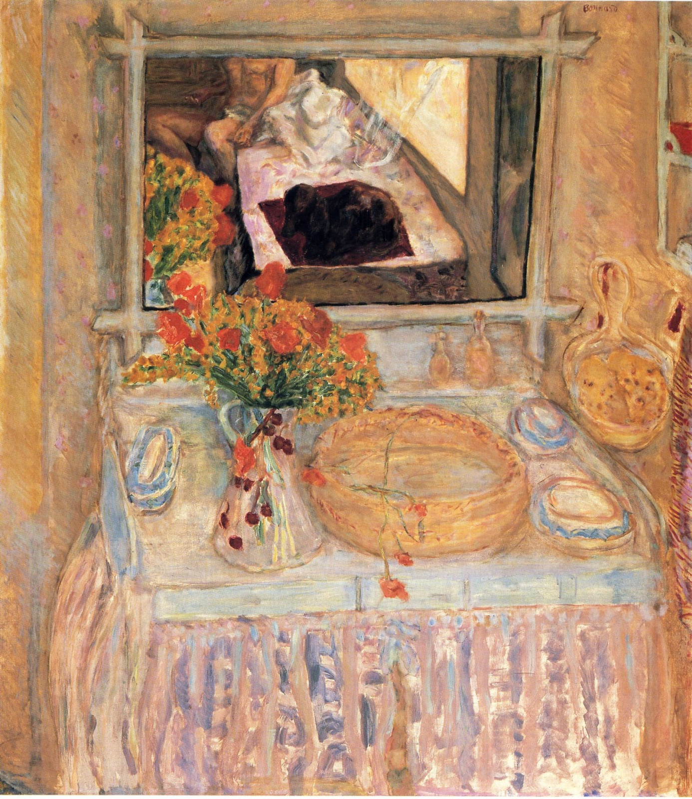 Pierre Bonnard. Red and yellow bouquet on the dressing table