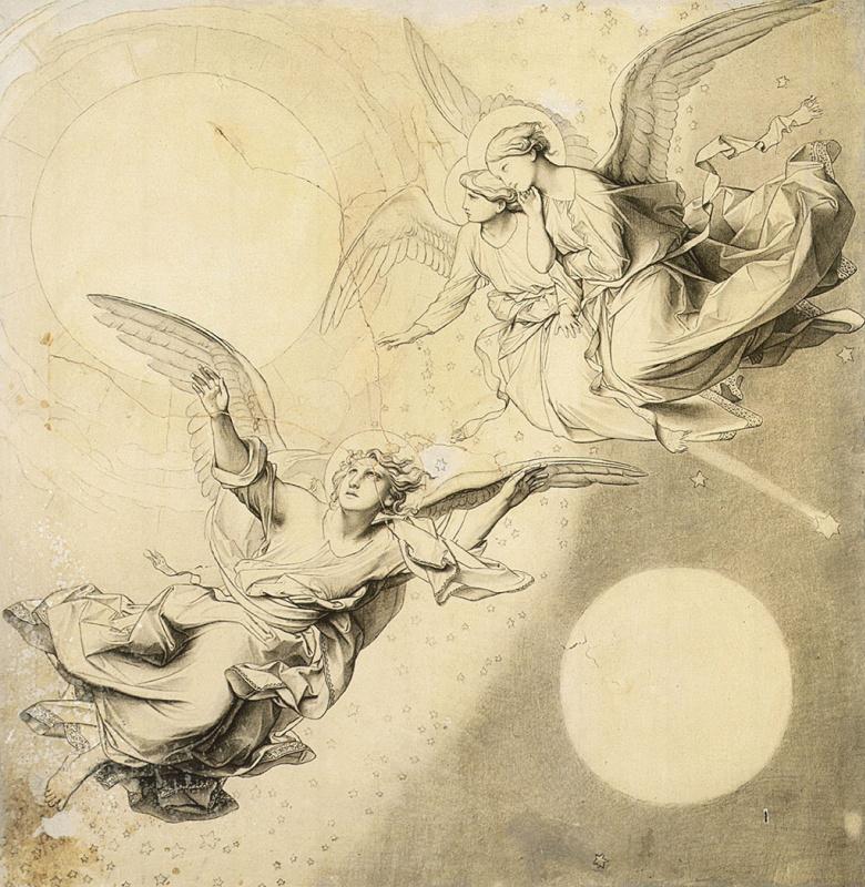 Солнце, луна и звезды с группами ангелов