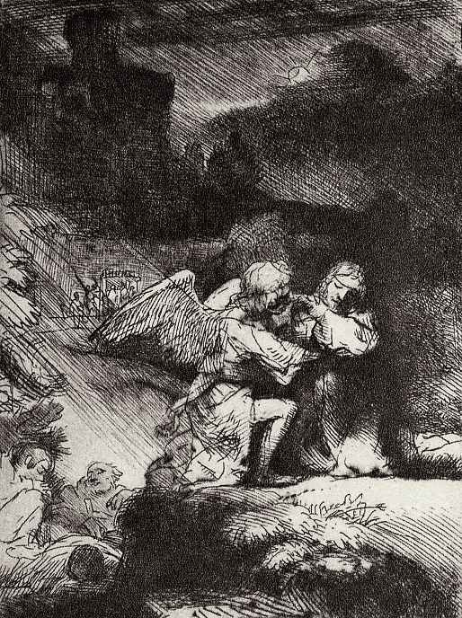 Рембрандт Ван Рейн. Христос на горе Елеонской