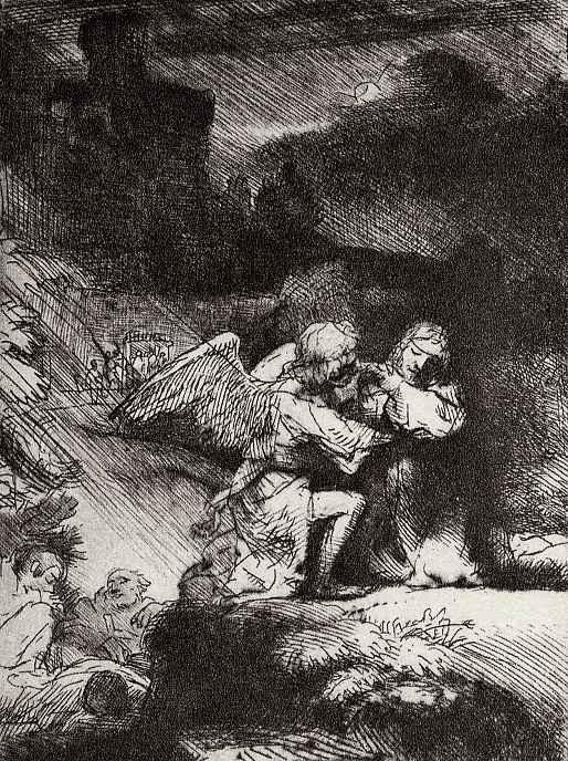 Рембрандт Харменс ван Рейн. Христос на горе Елеонской