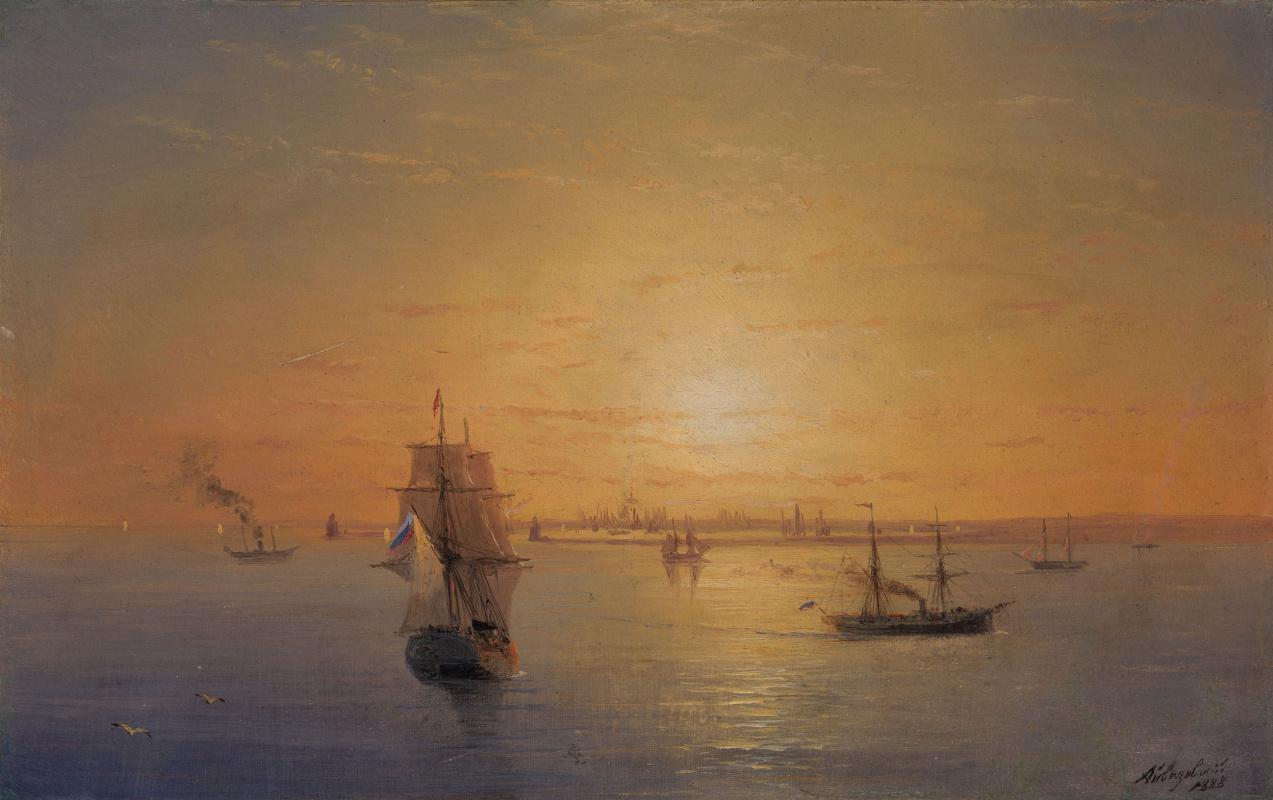 Ivan Aivazovsky. Russian fleet at sunset