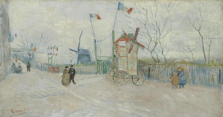 Винсент Ван Гог. Уличная сцена на Монмартре, мельница в Пуавре
