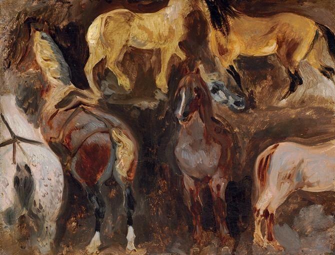 Eugene Delacroix. Etude with horses