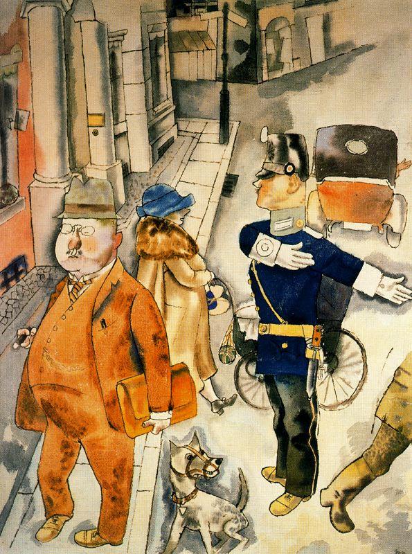George Grosz. Lady in a blue hat