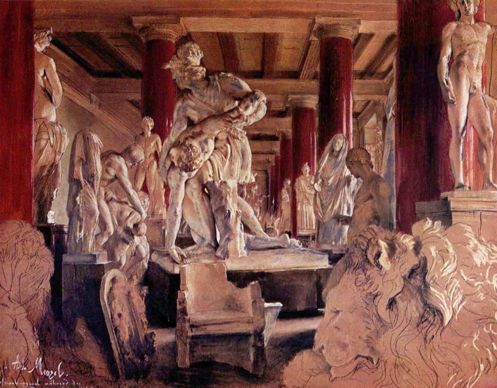Адольф фон Менцель. Зал для хранения скульптуры во время перестройки музея