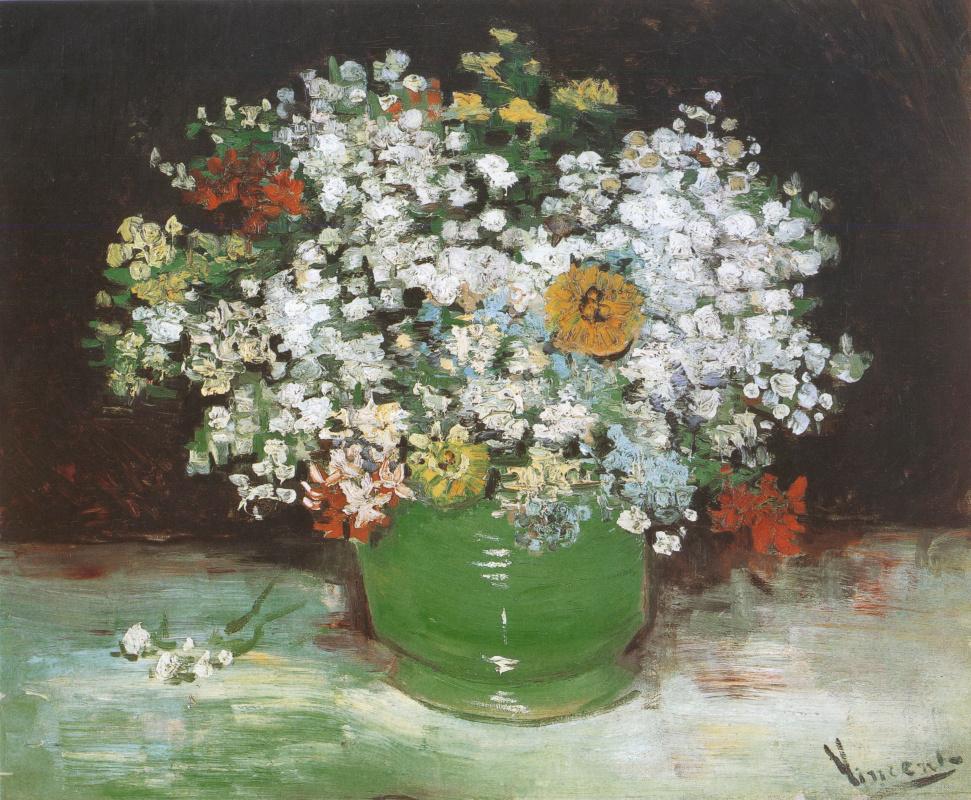 Винсент Ван Гог. Ваза с цинниями и другими цветами