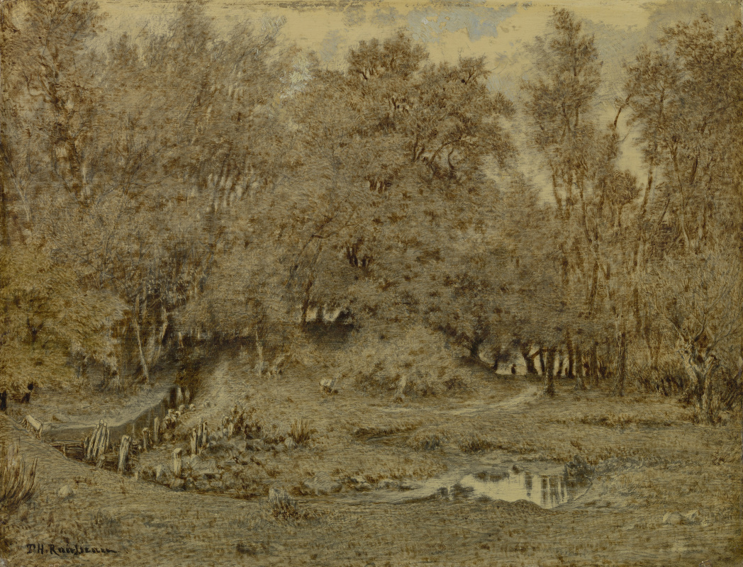 Theodore Rousseau. Stream in the forest of Fontainebleau