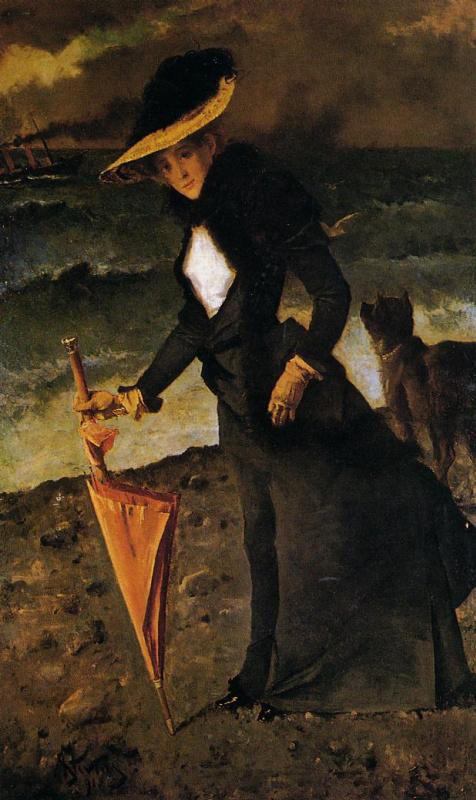 Альфред Эмиль-Леопольд Стевенс. Дама с зонтом на пляже
